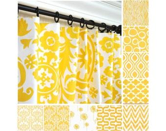 Yellow Window Curtains.Damask Drapes.Kitchen Curtains.Scrolls Curtain Panels.Dandelion Curtain Panels.Yellow Morrocan Drapery