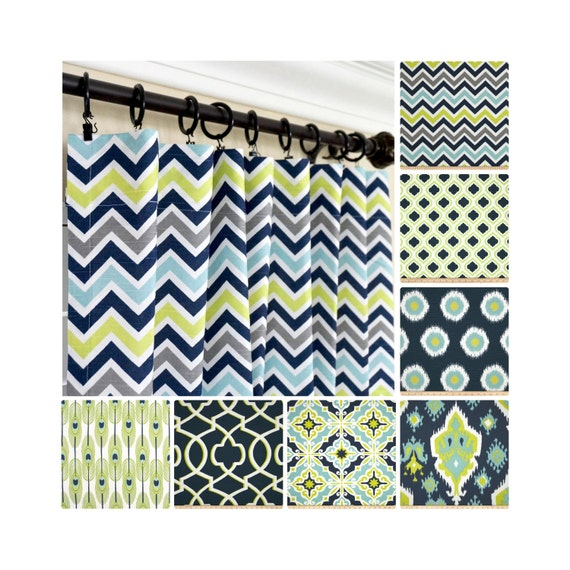 Lime Green Kitchen Curtains: Navy Blue Window Curtains.Lime Green Drapes.Gray