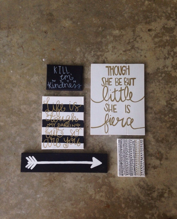 Canvas Sign Gallery Wall Set Black And Gold Dorm By