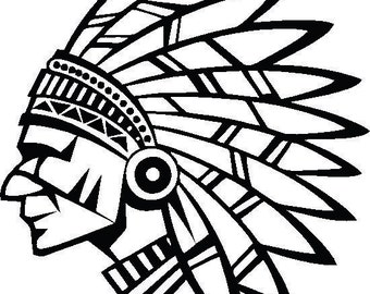 Indian Chief Decal: Indian Decor, American Indian Decals, Feather Decor, Indian Headdress, Indian Chief Picture, Living Room Decals