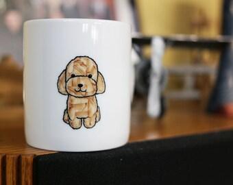 Hand painted animal mug cup - Cute mug cup - Poodle dog mug cup