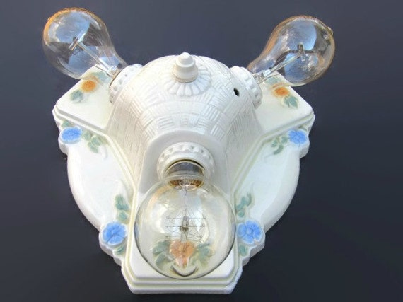 Retro 3 Bulb Flush Mount Bath Light Porcelain New Sockets
