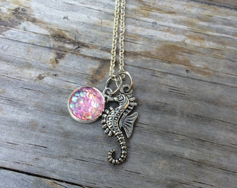 Seahorse Mermaid Scale Necklace, Charm Necklace, Mermaid Necklace
