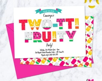 Twotti Fruity / Tutti Fruity Birthday Party Invitation