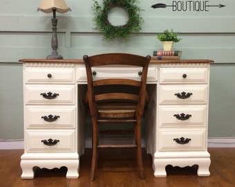 SOLD* White desk with farmhouse chair- rustic Cottage Chic- San Francisco, CA