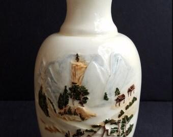 Cream Colored Ceramic Vase with Raised Colorfully Glazed Mountainside Cottage Theme