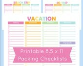 Printable Packing Checklist List For The Beach Vacation Planner Pages