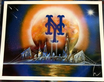 new york giants spray paint art space painting. Black Bedroom Furniture Sets. Home Design Ideas