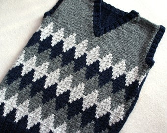 Boys tank top, navy and grey knitted vest,  made to order