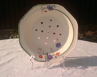 Vintage Art Deco Floral Drainer Bowl 'S' Mark