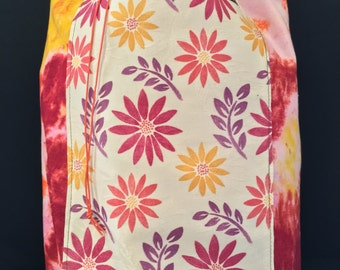 Pink & Yellow Tie-dye with Flowers Tore Bag