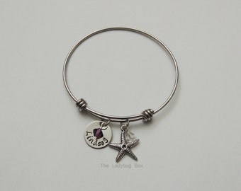Stainless steel adjustable bangle bracelet with 1 stamped disk and 1 birthstone