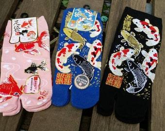 Japanese Tabi Sock_Flip Flop Toe Sock_kimono_goldfish