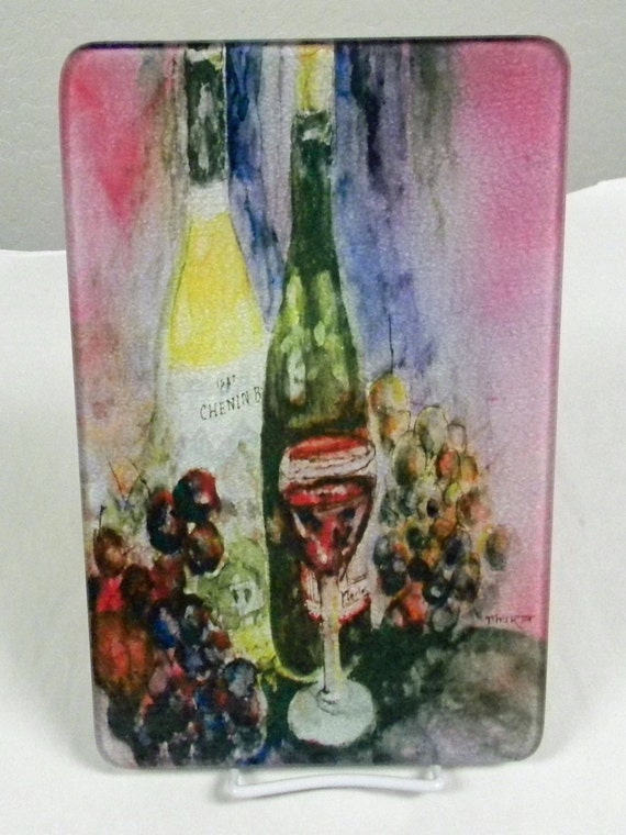 Cutting board wine bottles tempered glass watercolor fine - Decorative tempered glass cutting boards ...