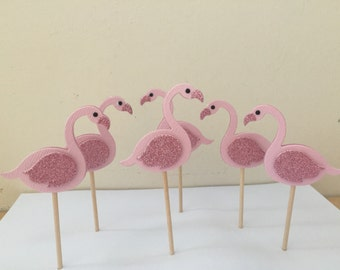 Flamingo Cupcake Toppers,  cupcake toppers, luxury cupcake toppers, flamingo appetiser picks
