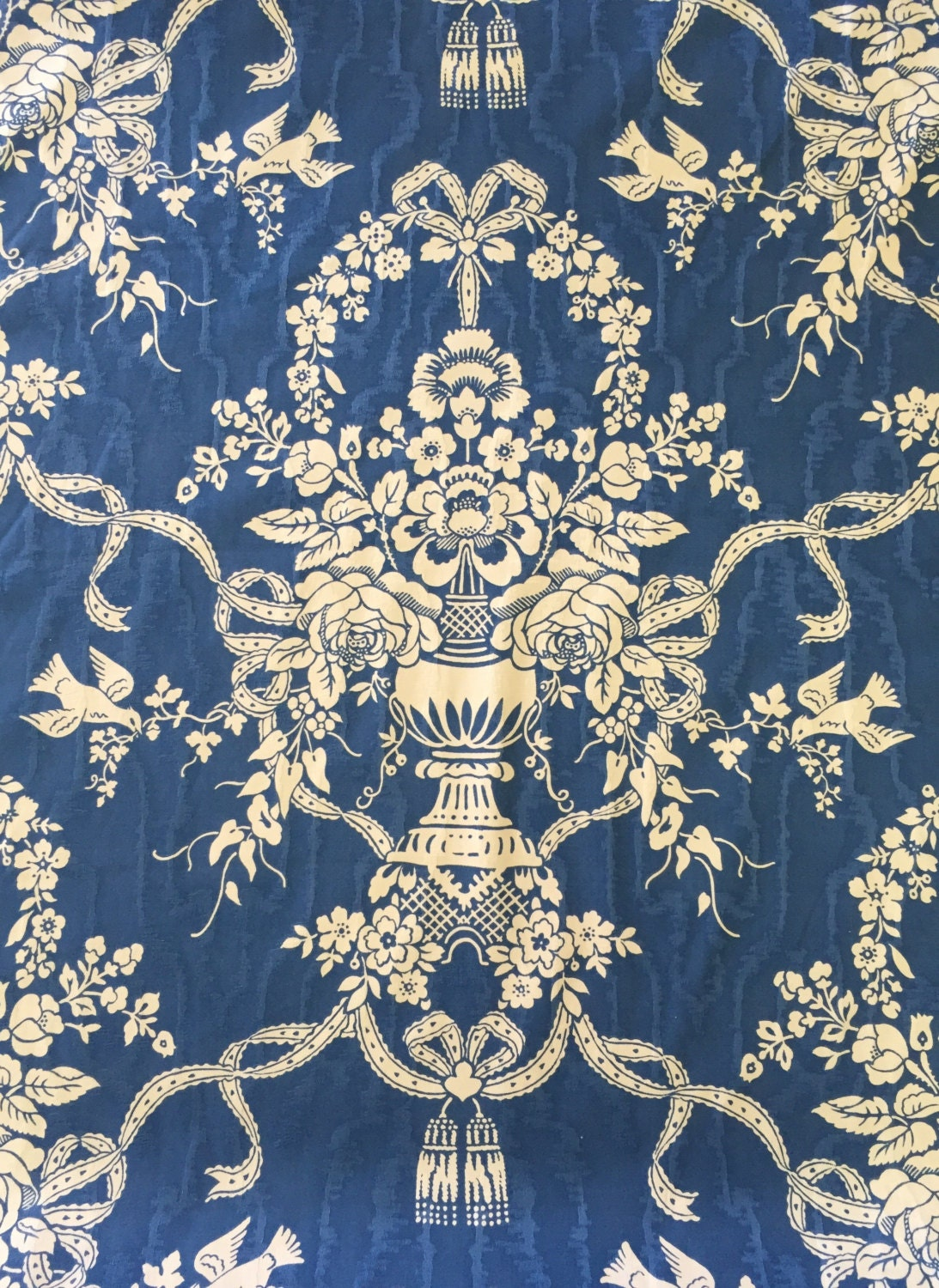 Blue Floral Damask Upholstery Fabric By The Yard