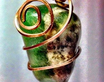 Copper wire wrapped natural stone pendant
