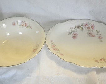 Homer Laughlin Virginia Rose China Platter & Serving Bowl