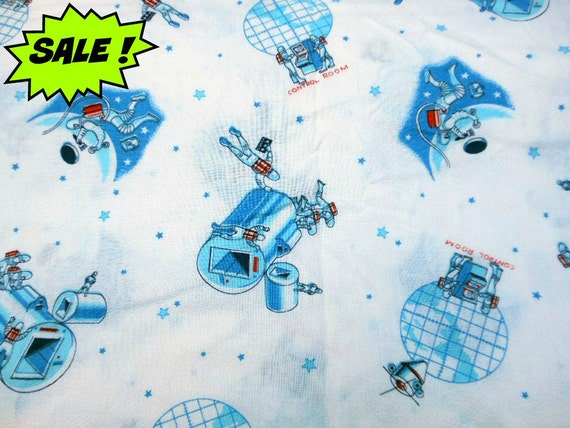 Vintage space age novelty fabric yardage by randomgatherings for Space themed material