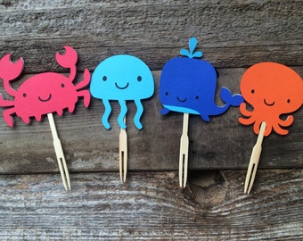 12 Under The Sea Party Cupcake Toppers,  Baby Shower, Birthday Party, Beach Party, Under the Sea Party, First Birthday