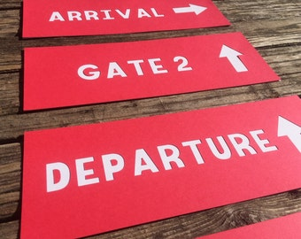 Airplane Party Signs - Terminal Signs, Airplane Party, Airport Signs, Baby Shower, Birthday Party, Party Decorations, Photo Prop