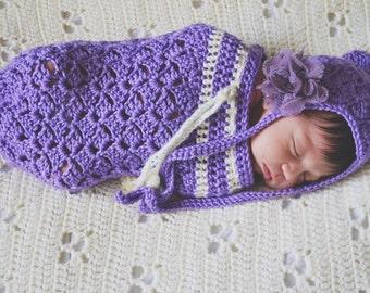 Baby snug sack and bonnet