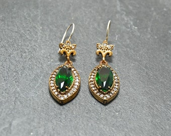 Turkish Jewelry  Emerald Crystal Stone White Clear Zirconia  vintage Antique Look Feel Timeless classic jewelry
