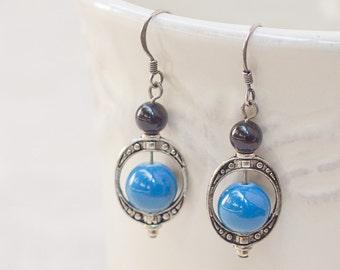 Glass Bead Earrings in Antiqued Silver Hardware - Maya - Blue - Elegant, classic,
