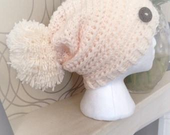 Handmade crochet slouch pompom hat/ladies/beanie