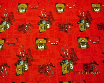 """New Red Disney Cars Friends to the Finish Flannel fabric - 1 yard 3"""" piece"""