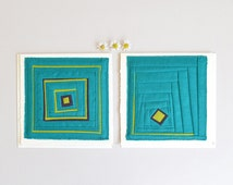 Turquoise linen fabric cards -- patchwork greeting card set, made by hand, sewn textile art, colorful housewarming gift, plum lime green