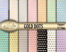Gold dots digital paper  wedding pattern pastel pink coral blue ivory green gold for scrapbooking,invites,cards,web design,Instant Download