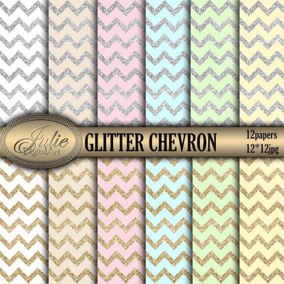 Silver glitter chevron digital paper Gold Wedding background