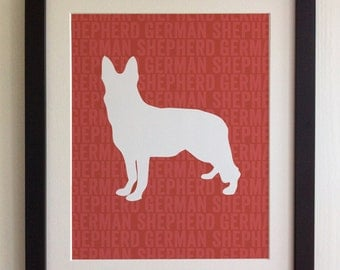 FRAMED German Shepherd Dog Print - Red, Birthday, New Home, Black or White frame, Fab Picture Gift