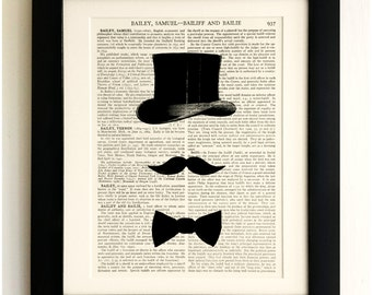 ART PRINT on old antique book page - Top Hat, Moustache, Bow Tie, Vintage Upcycled Wall Art Print, Encyclopaedia Dictionary Page, Gift