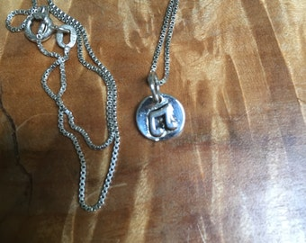 Pretty sterling musical note sing pendant and necklace