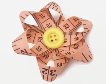 Upcycled Tape Measure Pink Daisy Flower Hair Clip, Unique Hair Accessory