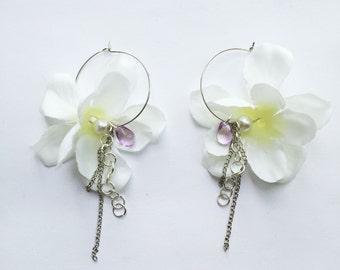 Fabric hydrangea flower hoop earrings
