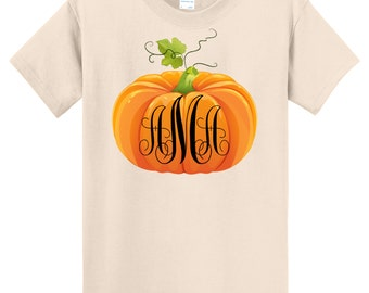 Fall Pumpkin Halloween Monogrammed T Shirt - Sizes 6 Months Through Adult 6X - Celebrate Autumn!