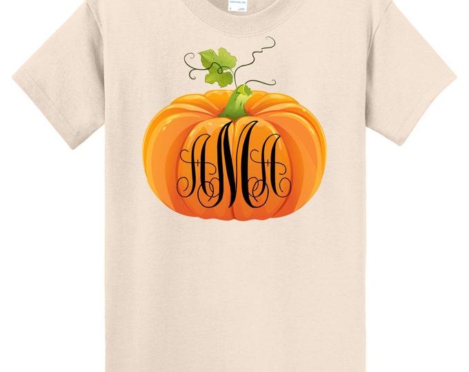 Fall Pumpkin Thanksgiving T Shirt Monogrammed  - Sizes 6 Months Through Youth Large - Celebrate Autumn!