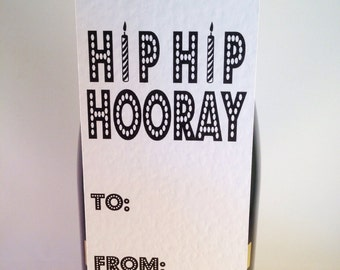 Bottle Gift Tag - Hip Hip Hooray - Birthday Celebration Gift Tag - Wine - Champagne - Prosecco