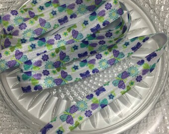 Purple & Turquoise Butterfly FOE - 3 yards fold over elastic - Hair ties - Headbands