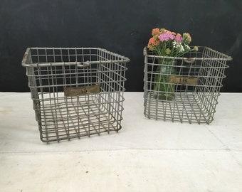 Vintage Jersey City Metal Locker Basket - Wire Bin - School Locker Basket - Gym Basket - Industrial Locker Basket - Storage Basket