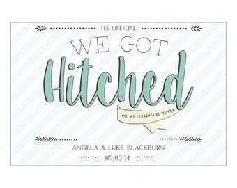 We Got Hitched - Postcard Elopement Announcement - Elopement Postcard Download - We Eloped  Digital Download - Elopement Party Download