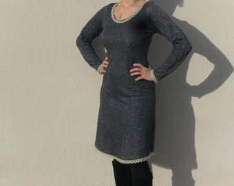 Dress long sleeve organic cotton and lurex with lace