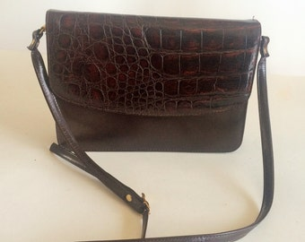 Vintage Cabrelli Canada Chocolate Brown Faux leather Shoulder Bag 1980s Handbag