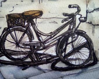 Bicycle postcard original watercolour