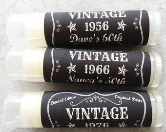 30th, 40th, 50th, 60th, 70th Birthday Lip Balm Party Favors - Birthday Party Supplies - Set of 5 - FREE Customization - Vintage Birthday
