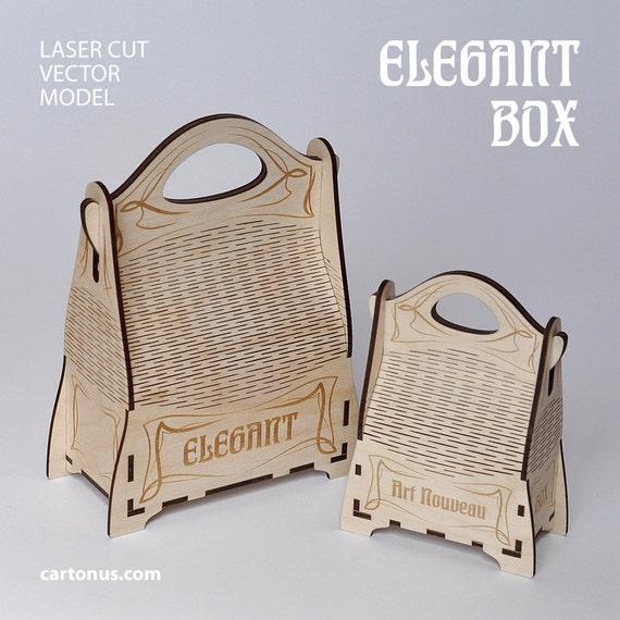 Elegant gift box with handle. Art nouveau style. Laser cut project plan. Instant download