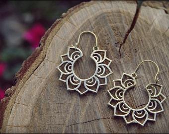 Bronze earrings. Brass earrings tribal ethnic style. LOTUS FLOWER.